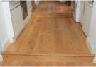 The installed oak engineered flooring in Gaby & Tom's kitchen